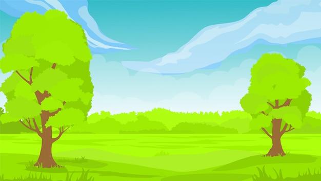 하늘 나무 구름 일러스트와 함께 잔디 풍경입니다. 봄 풍경 녹색 배경