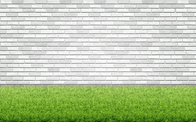 Grass lawn and white brick wall.