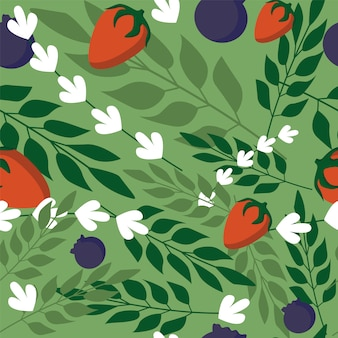 Grass leaves and wild berries seamless pattern on green background