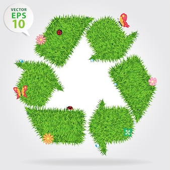 Grass recycle symbol, ecological concept illustration