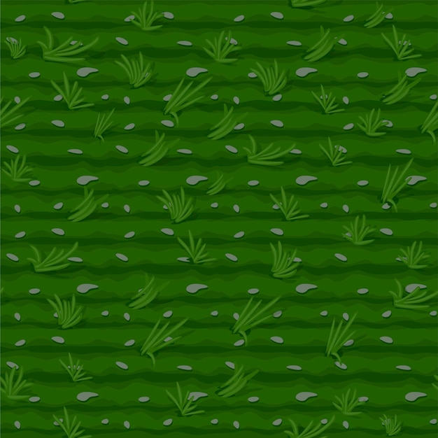 Бесшовный узор из травы, зеленое поле фон для обоев. иллюстрация текстуры сельского хозяйства с кроватями для игры. Premium векторы