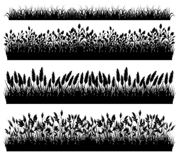 Набор границ силуэт травы, изолированные на белом фоне вектор