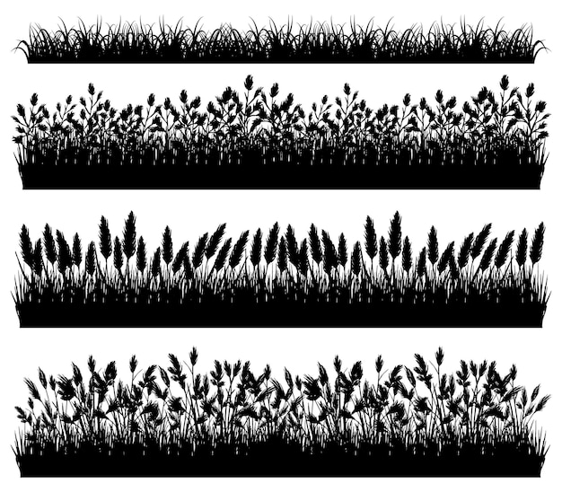 Grass silhouette borders set isolated on white background vector