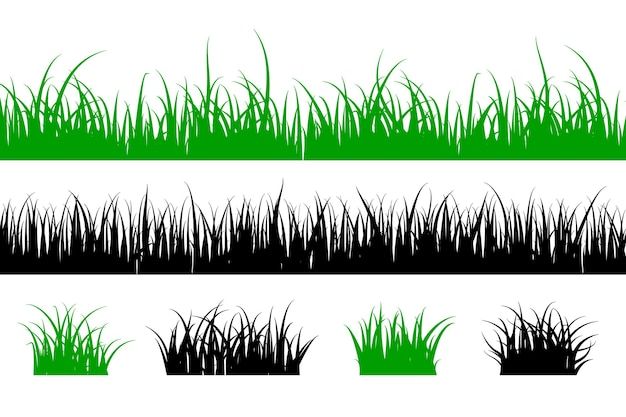 Силуэт травы. собрание ландшафта луга формы лужайки. зеленые и черные элементы дизайна. векторная иллюстрация линии, изолированные на белом фоне
