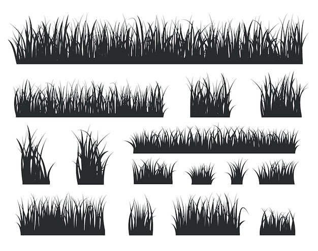 Grass silhouettes. black tufts forest lawns. isolated natural herbal field border
