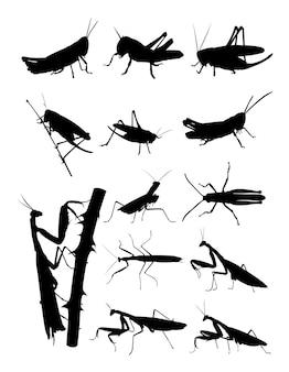 메뚜기와 사마귀 실루엣