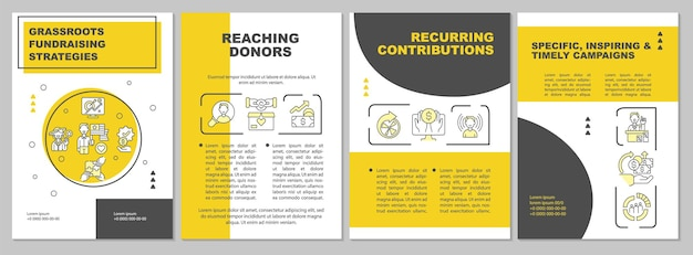 Шаблон брошюры по стратегиям массового сбора средств. увеличение фонда. флаер, буклет, печать листовок, дизайн обложки с линейными иконками. векторные макеты для презентаций, годовых отчетов, рекламных страниц