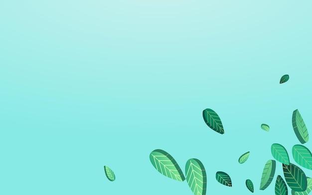 Травянистая зелень прозрачный вектор синий фон баннера. абстрактные обои листва. брошюра о падающих оливковых листьях. граница листового чая.