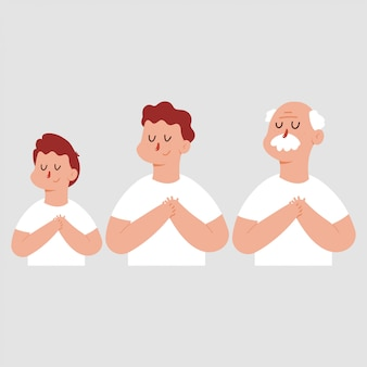 Grateful or dream man with chest hand and closed eyes. vector cartoon characters set isolated.