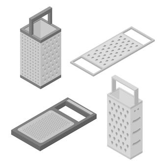Grater icons set, isometric style