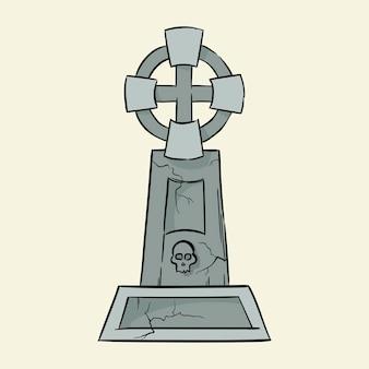 Могила надгробие рисованной векторные иллюстрации, изолированные на фоне