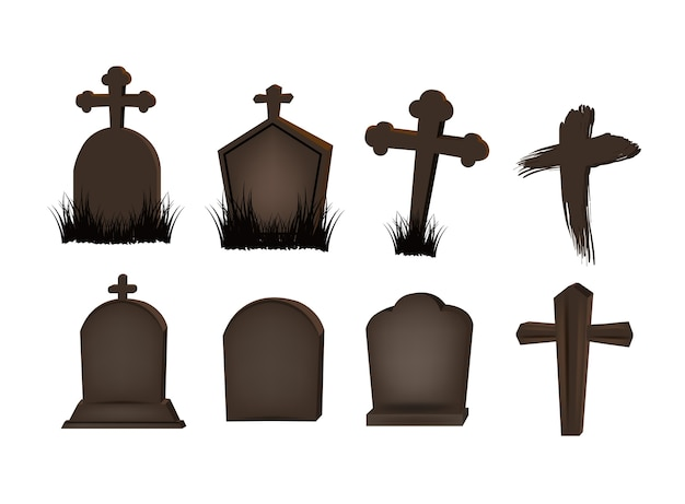 Grave marker set for object halloween day