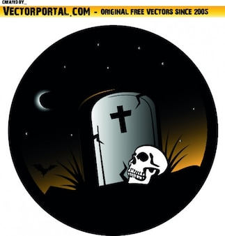 Grave and skull in halloween circle