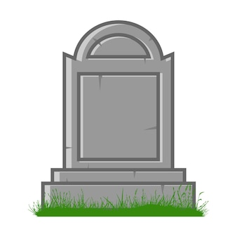 흰색 배경에 고립 된 녹색 잔디 벡터 만화 일러스트와 함께 무덤.