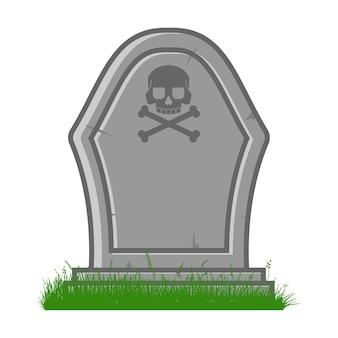 흰색 배경에 고립 된 두개골과 이미지 벡터 만화 일러스트와 함께 무덤.