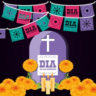 Gravestone day of the dead party