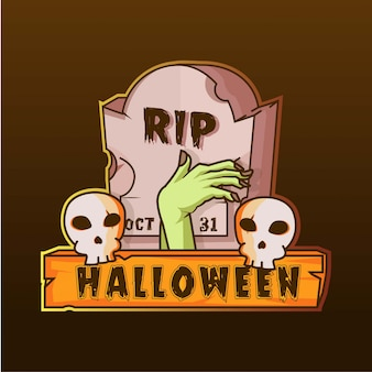 Gravestone and hand zombie skull halloween logo illustration