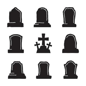묘지에 있는 묘비. 할로윈 밤 좀비 무덤 벡터입니다. 흰색 배경에 격리합니다.