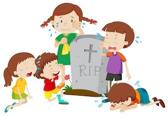 Gravestone scene with children crying