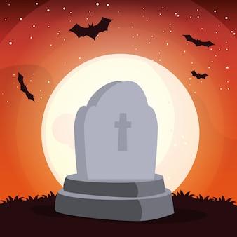 Graveyard tombstone in cemetery scene