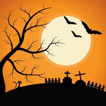달빛 아래 으스스한 나무가 있는 묘지 할로윈 배경