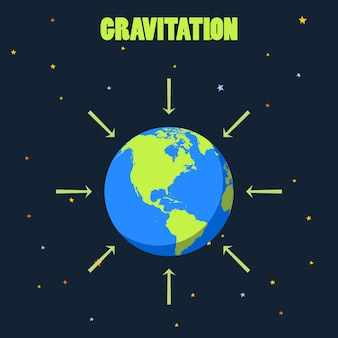Gravitation on planet earth . concept illustration with  and arrows that shows how force of gravity act.