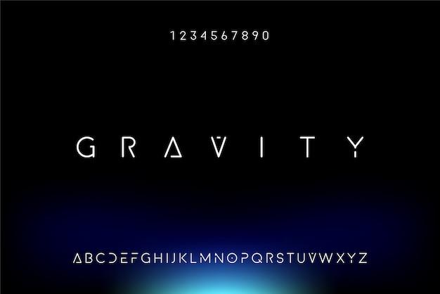 중력, 기술 주제를 가진 추상 미래형 알파벳 글꼴. 현대적인 미니멀리스트 타이포그래피 디자인