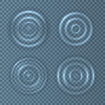 물방울에 의해 생성 된 중력 모세관 물결 운동