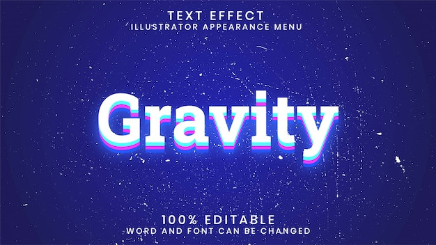 Gravity editable glowing text effect style template