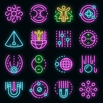 Набор иконок гравитации. наброски набор гравитационных векторных иконок неонового цвета на черном