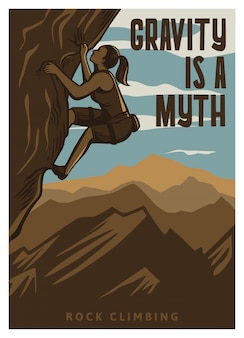 Gravity is a myth rock climbing poster template in vintage retro style with mountain background