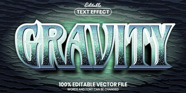 Gravity text, font style editable text effect