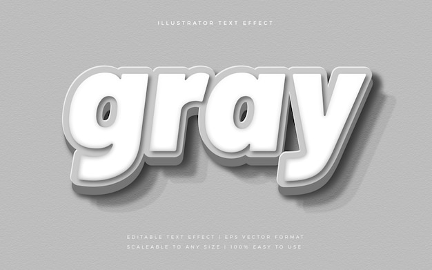 Gray 3d elegant text style font effect
