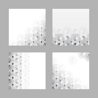 Gray 3d hexagonal pattern background set