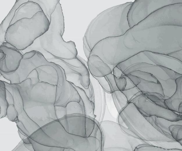 灰色のアルコールインクのテクスチャです。抽象的な手描きの水彩画の背景。