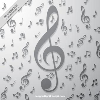 Серый фон с большим скрипичным ключом и музыкальные ноты