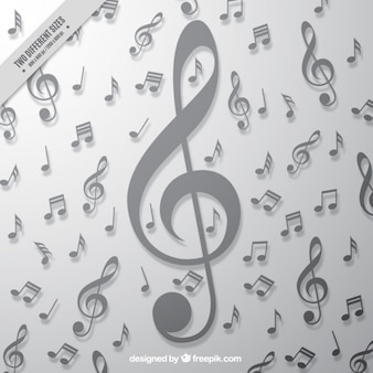 Gray background with big treble clef and musical notes