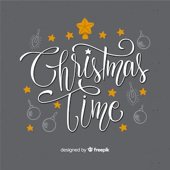 Gray background with christmas lettering