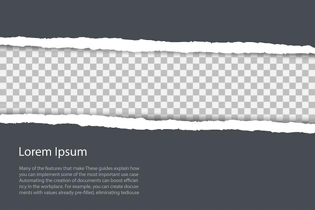 コピースペースと破れた紙の端と灰色の背景。