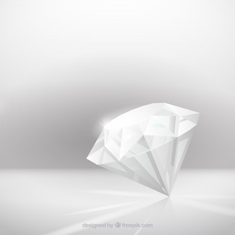 Gray background with realistic diamond
