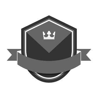Gray badge embellished with a banner