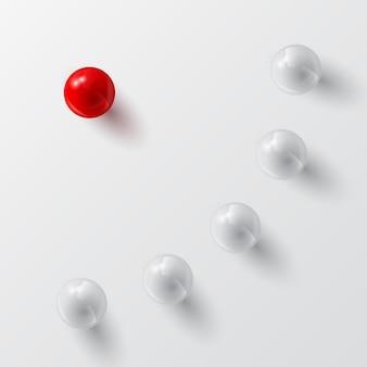 Серые шары и красный, иллюстрация