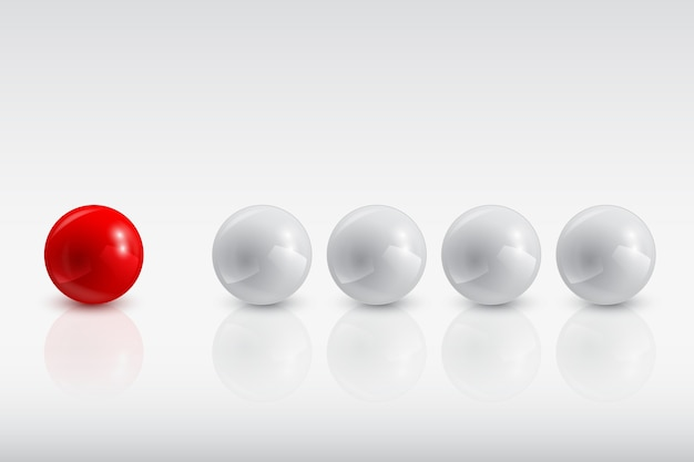 Gray balls and the red one,  illustration