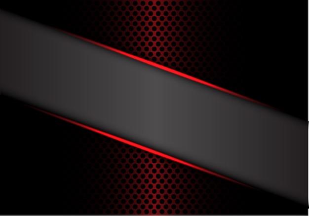 Gray banner red metallic line on dark metal circle mesh.