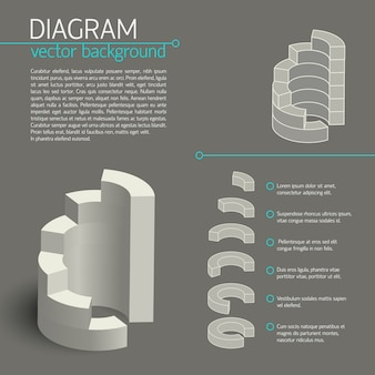 Серая бизнес-диаграмма инфографики с изолированными элементами или фрагментами диаграммы и описаниями