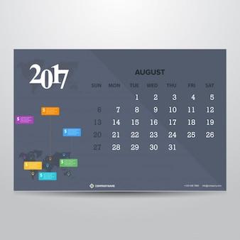 Gray calendar for august 2017