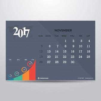 Gray calendar for november 2017