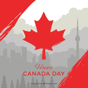 Gray canada day background with red details