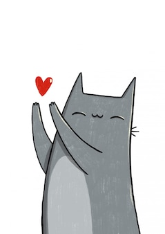 Gray cat with a heart