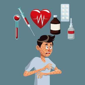 Gray color background with rash sickness man half body icons medicine